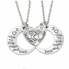 New 2pc Mother Daughter Set Necklace for woman Heart Moon Charm Pendant Mom Love
