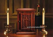 "Tabernacle NEW Maple Hardwood Walnut Stain Locks Carved Wood 15""Wx20""Hx13.75""D"