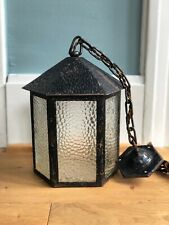 ANTIQUE Mission Arts and Crafts Lantern hammered glass