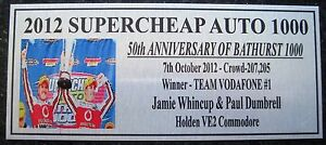 2012 Bathurst  Jamie Whincup & Paul Dumbrell 140x60mm F/Postage