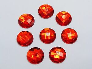 50 Red Acrylic Round Flatback Rhinestone Gems 18mm No Hole