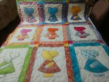 Handmade Applique Sunbonnet Sue Dutch Girl Baby Crib Lop Throw Quilt Blanket