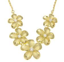Oro Amarillo Plata de ley 925 5 HAWÁI Plumeria Collar con flor grande