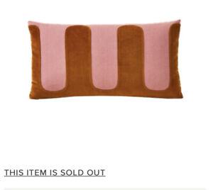 "West Elm Pochoir Pillow Cover NEW 12"" X 21"" Embroidered Pink Brown/orange Velvet"