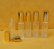 5 Refillable Square Clear Glass Bottles 30 ml 1 oz GOLD Atomizer Spray GOLD Cap