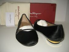 Salvatore Ferragamo US 10.5 Audrey Calf Hair Black Goldtone Flats Heels Shoes BX