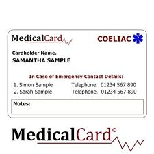 MedicalCard Medical Alert Card: Coeliac's Disease - PVC Card!