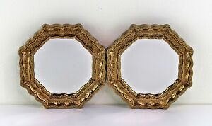 """vintage pair (2) gold ornate accent mirrors octagon 6.5"""""""