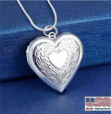 "925 Sterling Silver Plt Heart Necklace, Locket Photo Picture Pendant 18""  N1"
