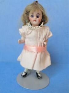 "3.5"" Antique German Miniature Bisque Dollhouse Doll Blue Glass Eyes Kestner ?"