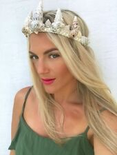 Avorio perlato Grigio Sea Shell SIRENA CORONA capelli Head Band Choochie Choo Boho Beach