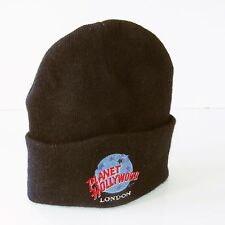 Vintage   Planet Hollywood London    Beanie Hat  (Black with Logo)