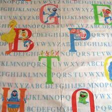 Vintage Sesame Street Muppets Twin Flat Sheet Fabric Letters