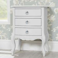 Juliette White bedside table with crystal handles.FULLY ASSEMBLED.French cabinet