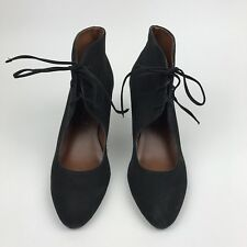 Jeffrey Campbell Agusta Leather Lace Up Wedge Heels 8.5 Black Retro Funky Cutout