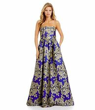Adrianna Papell Royal Blue Abstract Floral Jacquard Ball gown Dress NWT Size 12