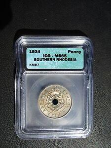 1934 Southern Rhodesia 1 Penny, ICG MS 65, Zimbabwe