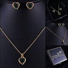 Halskette & Ohrstecker Damen *Edles Herz*, Gold pl, Swarovski Elements, +Etui