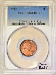 1913 Lincoln Wheat Cent PCGS MS-64 RB; Mostly Red