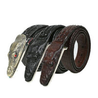 Crocodile Pattern Men Leather Belt Middle-aged Fashion Business Casual Waistb FT