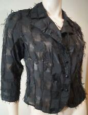 Anne Fontaine Schwarz Baumwollmischung V-Ausschnitt 3/4 Ärmel Bluse Jacke Top sz2 uk6