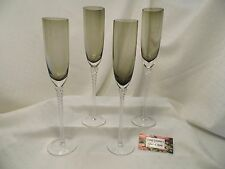 """Crystal Toasting Champagne Flute Smoke Gray With Twisted Stem Set of Four 12.5"""""""