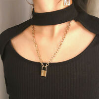 Vintage Golden Chain Necklace Lover's Lock Pendant Choker Necklace Steampunk