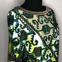 Sandra Darren Dress Womans 6 Embellished Neckline Shift Arabesque New