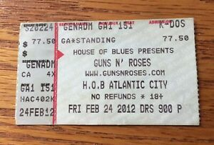 2/24/12 Guns N' Roses - Concert Ticket Stub - House Of Blues Atlantic City NJ