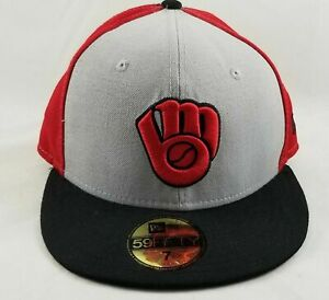 Milwaukee Brewers Logo New Era 59FIFTY Fitted Hat Size 7 Tri-Color Cap