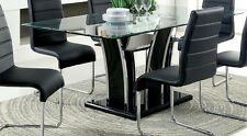 Furniture Of America Glenview Glass Top Dining Table Black Arched Style Base