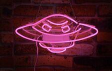 "New Pink Alien UFO Acrylic Neon Sign 14"" Bedroom Gift Wall Decor Light Lamp"