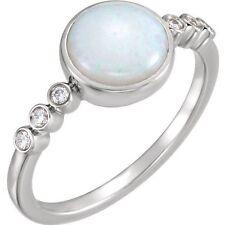 Genuine Australian Opal Round Gem & 1/10 ctw Diamonds Ring 14K White Gold Size 7
