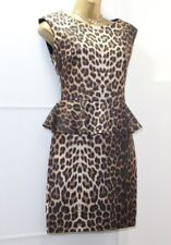 Lipsy Leopard Bodycon Peplum Dress UK 10 Shift Stretchy Evening Club Sexy Party