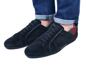GUCCI men's black suede web signature sneakers | Size 9.5/US 10.5 (29cm/11,4in)