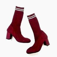 c7f5eb36d4d Catherine Malandrino Womens Pulley Sock Knit Boots Heels Burgundy Sz 7.5-10  New