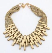 Collana DONNA color GOLD in Plastica GEOMETRICA Elegante Moda effetto METALLO