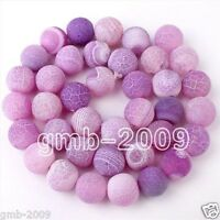 "6mm 8mm 10mm Natural Purple Frost Agate Round Gemstone Loose Beads 15""AAA"