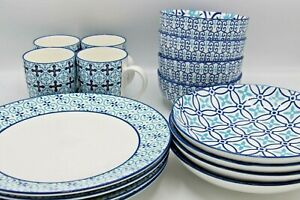NEW Dining 16pc Set Plates, Side Plates, Mugs, Bowls - Cereal, Food, Strong