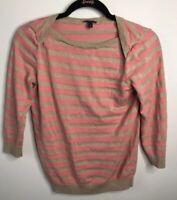 TALBOTS Women's Top Pink Blouse Shirt Gold Metallic Weave Striped Petite Small