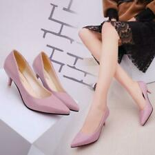 Ladies Womens Low Mid Kitten Heels Office PU Leather Pointed Toe Pumps Shoes Q