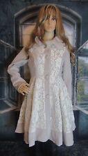 RYU ANTHROPOLOGIE Crochet Lace Rabbit Fur Trim A-Line Coat Size Small Beautiful.