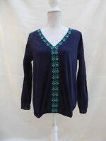 Marks & Spencer navy with aztec style embroid trim blousin style top Size 14