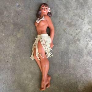 RARE Hula Girl CHALKWARE 40s HAWAIIANA Pinup L.L. RITTGERS Risque Wall Plaque NR