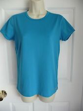 Eastern Mountain Sports Ladies M Workout Shirt Top Blue Short Sleeves Tech Wick