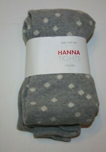 New Hanna Andersson Girls Tights 150 160 14 year Gray w Glitter Gold White Dots