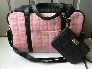 Betsey Johnson Luv Betsey Weekender Bag w/ Wristlet, LBCRUIS. NWT! Quilted Cat
