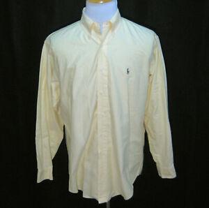 RALPH LAUREN Men's (Size 16/34) Yellow Button Front Shirt 100% Cotton Yarmouth