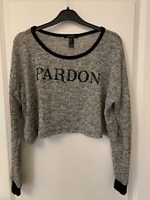 Grey Knit Crop Jumper Size M