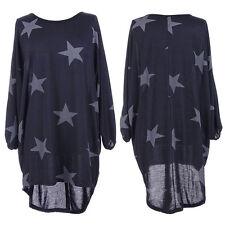 Damen Stern Drucken Tunika Blusen Longshirt Oversized Tuniken Baggy Top Gr.36-50